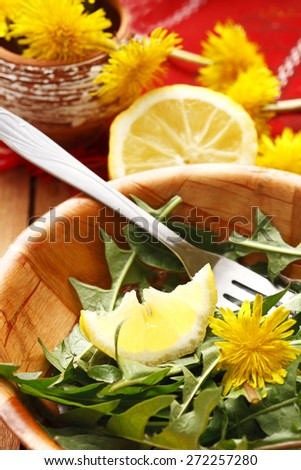 salad and lemon - stock photo