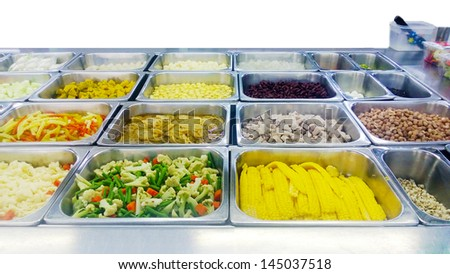 Salad Bar Counter,  isolated on white background - stock photo