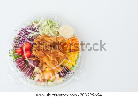 Salad box packaging on white paper background - stock photo