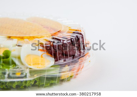 Salad box packaging on white paper background