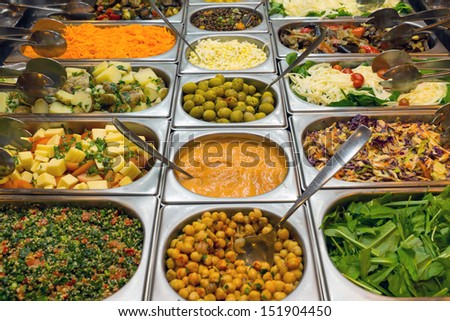 Salad buffet in a restaurant - stock photo
