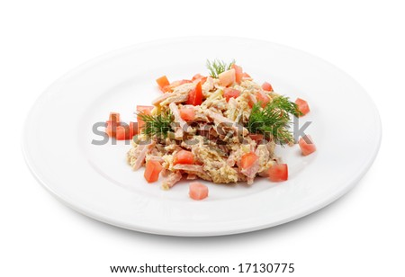 Salad Comprises Chopped Smoked Chicken and Champignon Dressed with Dill and Tomatoes. Isolated on White Background