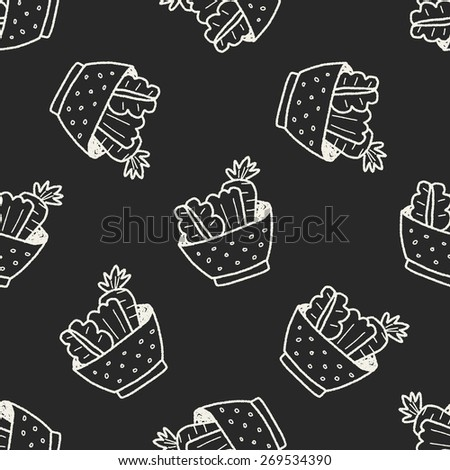 salad doodle seamless pattern background