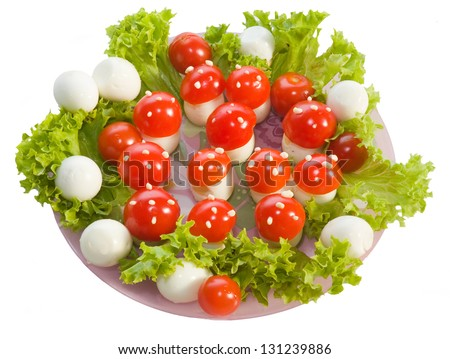 "Salad ""Fly agarics"".Break fast for child made from boiled egg ,tomato and mayonnaise"