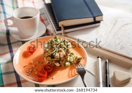 salad for breakfast  - stock photo