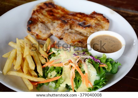 Salad, French fries - stock photo