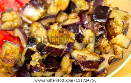 salad, fried eggplant, tomato onion - stock photo