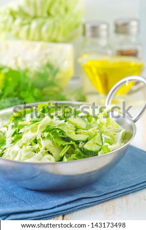 salad from cabbage and cucumber