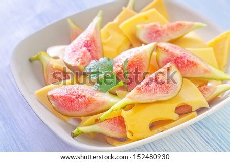 salad from cheese and fig - stock photo