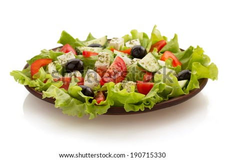 salad in plate isolated on white background - stock photo