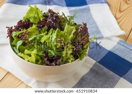 Salad Leaves Purple Lettuce Spinach Arugula Mixed Fresh Salad In A White