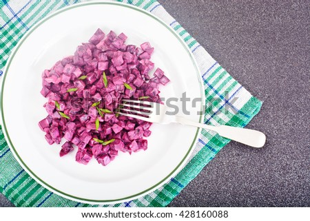 Salad of Boiled Beets with Yogurt Studio Photo - stock photo