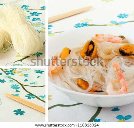 salad of Chinese rice noodles and seafood in white plate - stock photo