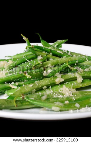 Salad of green beans with garlic and parmesan - stock photo