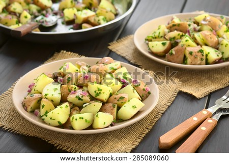 Salad of jacket potato, red onion and herbs served on plates, photographed on dark wood with natural light (Selective Focus, Focus one third into the first plate) - stock photo