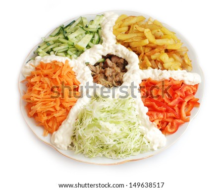 Salad of meat potatoes cabbage carrots cucumber pepper