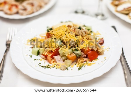 salad on a white plate - stock photo