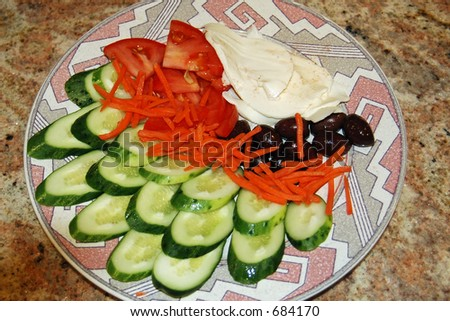 Salad on Plate - stock photo