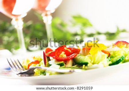 Salad on the table - stock photo