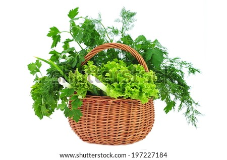 Salad, parsley, fennel and green onions in wicker basket isolated on white - stock photo