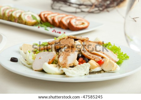 salad plate served on restaurant table