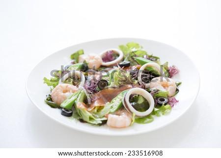 Salad, seafood salad - stock photo