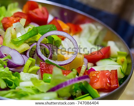 salad tomatoes cucumber onions lettuce leaves delicious light lunch
