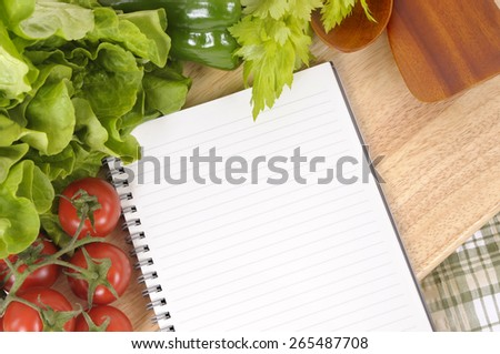 Salad vegetable, cookbook, copy space, top view - stock photo