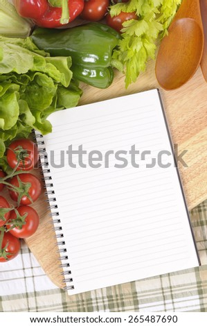 Salad vegetable, recipe book, copy space, vertical - stock photo