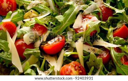 Salad with arugula and cherry tomatoes on a plate - stock photo
