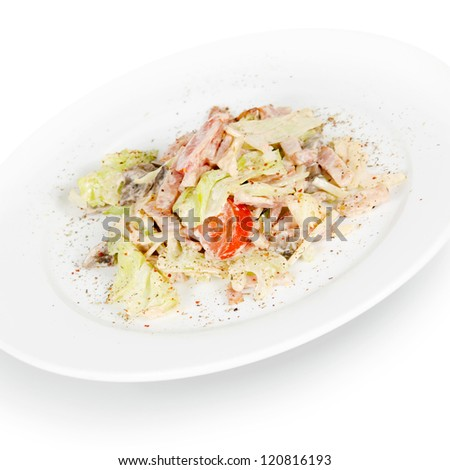 salad with bacon. isolated on white background