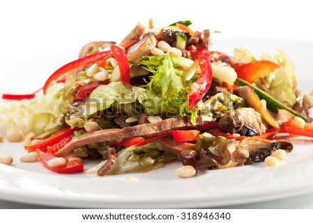 Salad with Beef Tongue and Vegetables - stock photo