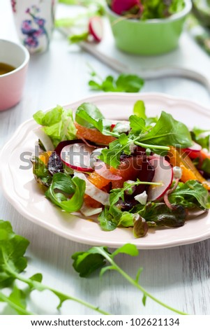 Salad with beetroot, oranges,grapefruit,radish,feta cheese and fennel - stock photo