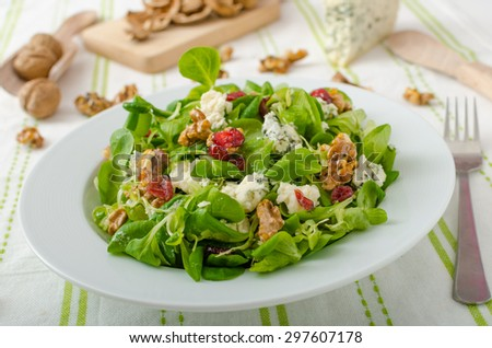 Salad with blue cheese and balsamic dressing, with nuts and cranberries - stock photo