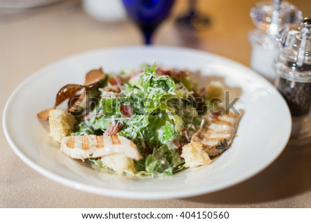 Salad with chicken and croutons. Caesar - stock photo