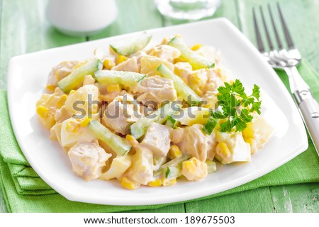 Salad with chicken and pineapple