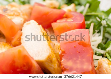Salad with chicken meat - Close up