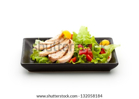 Salad with Chicken, Mushrooms, Tomato and Paprika - stock photo