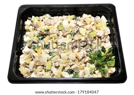 salad with chicken, pineapple and mushrooms