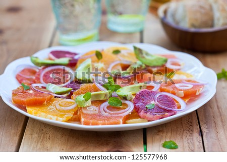 Salad with Citrus Fruits, Avocado and Onion. Ready-to-eat. Also available in vertical format. - stock photo