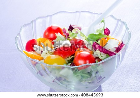 Salad with fresh ingredients,in selective sharpness taken