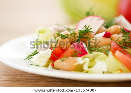 salad with fresh vegetables and cooked beans