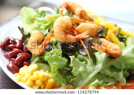 salad with fried shrimp - stock photo
