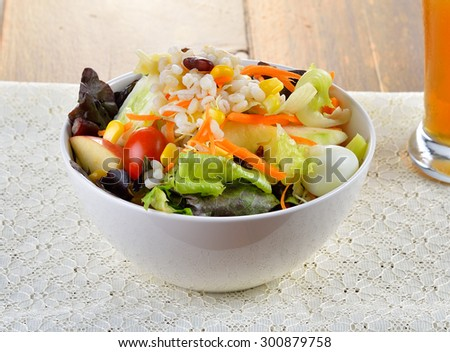 salad with fruit and vegetable - stock photo