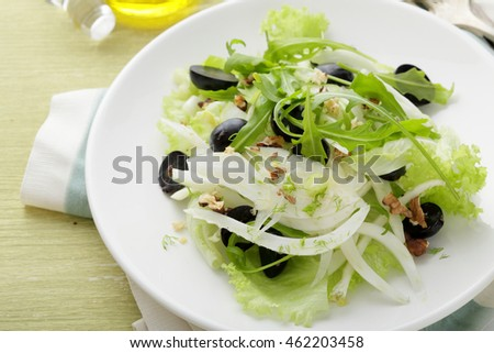 Salad with grapes and fennel. Healthy food