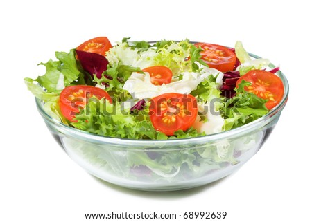 salad with greens and vegetables on white background - stock photo
