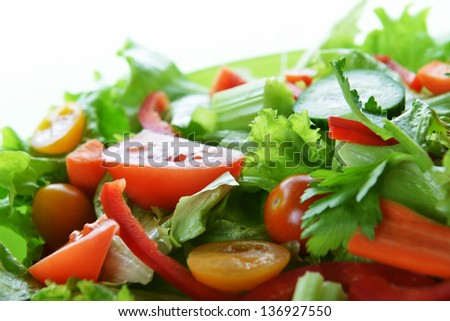 salad with lettuce and fresh vegetable close up - stock photo
