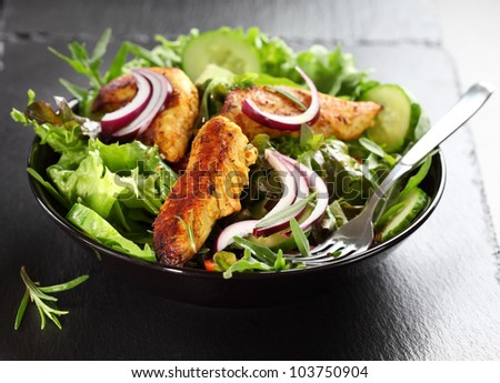 Salad with marinated Indian chicken breast stripes - stock photo