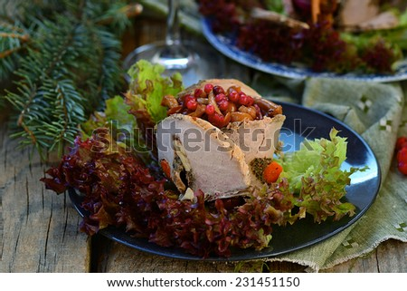 salad with marinated mushrooms, cow berry and meat  . selective focus - stock photo
