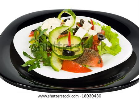 Salad with moldavian Brynza - stock photo